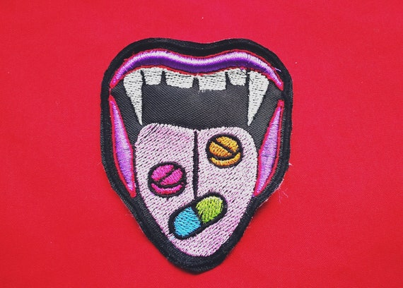 Embroidered Patches on yarn. Vampire. Approximate Size 9 cm
