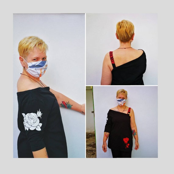 One Sleeve T-Shirt. Handcrafted print Roses and Zebra. Sizes S,M,L,XL and XXL
