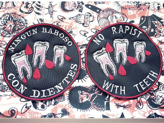 Feminist patch embroidered in thread. No rapist with teeth. 10cm