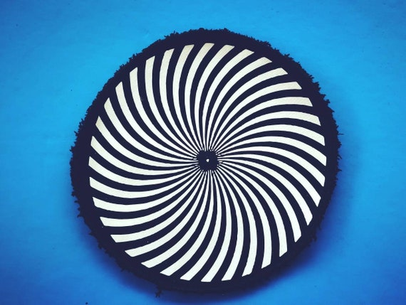 Organic Textile Vinyl Patch. Visual Round Shape. Size 12.16 or 21 cm to choose