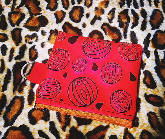 Wallets / mini cotton bag. 100% handmade metallic red print. Orange Plastic Zipper Closure