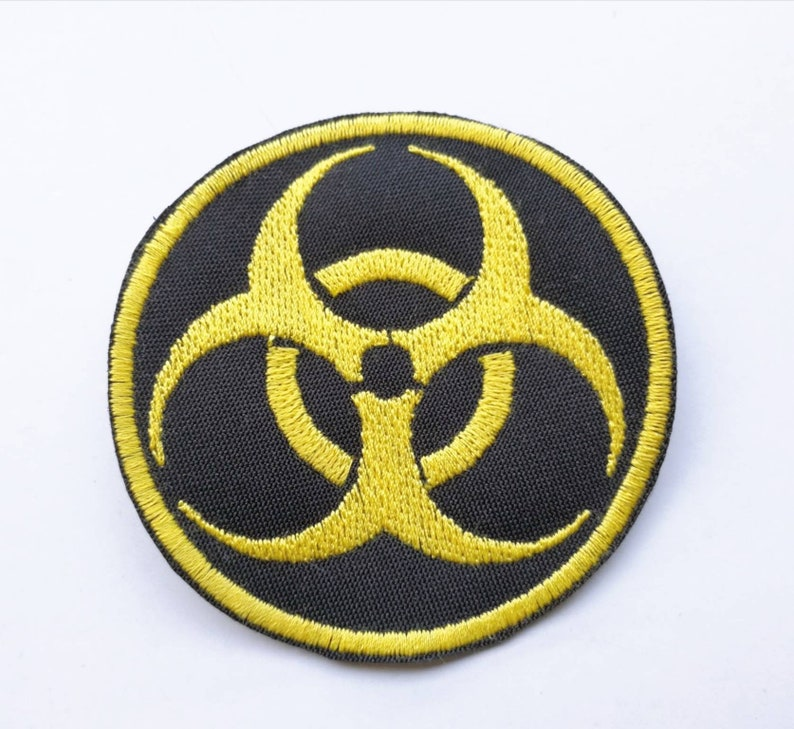 Biohazard Embroidered Patch 10 or 16 cm. Size 2 options 5 Color of the yarn to choose