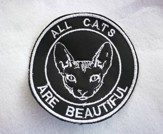 Embroidered yarn patches. Choose 1 color only. All cats are beautiful. Sphynx Cat