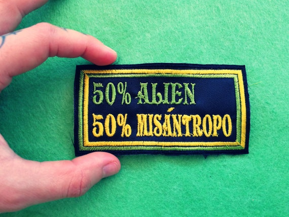 Embroidered Patch Half Alien Half Misantropx 10x5cm Bright green and yellow thread.