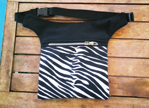 Flat Pouch Zebra Animal Print bag hip bag bumbag Bag 2 pockets
