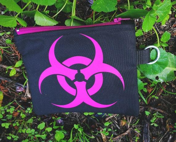 Wallets / mini cotton bag. BioHazard Fuchsia . 100% handmade printing and making. Nylon Zipper Closure