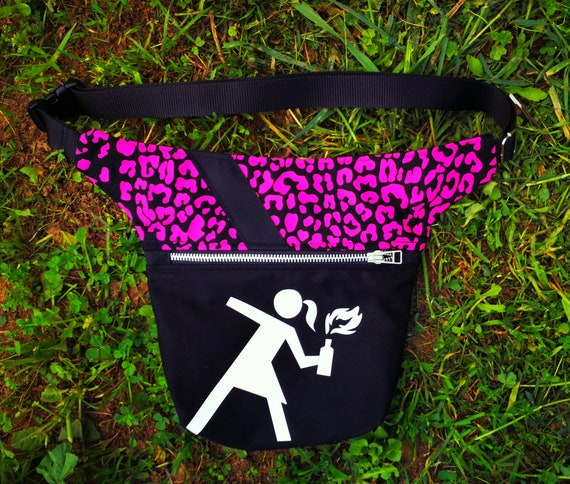 Waist and Bag Bag.2 Large Pockets.Pink leopard fabric with Riot Girl image applied on hipBag vinyl Waist size to your size