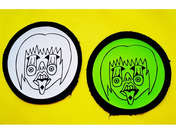Vinyl Eco-friendly textile patch approx. 15 cm. Hand-drawn design. Colors available fuchsia blue green yellow or red.