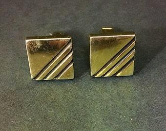 Art Deco silver tone black stripe cufflinks