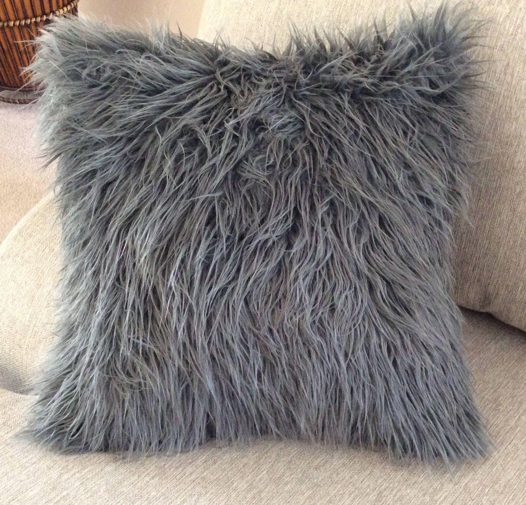 fur pillow gray fur pillow charcoal grey faux fur pillow. Black Bedroom Furniture Sets. Home Design Ideas