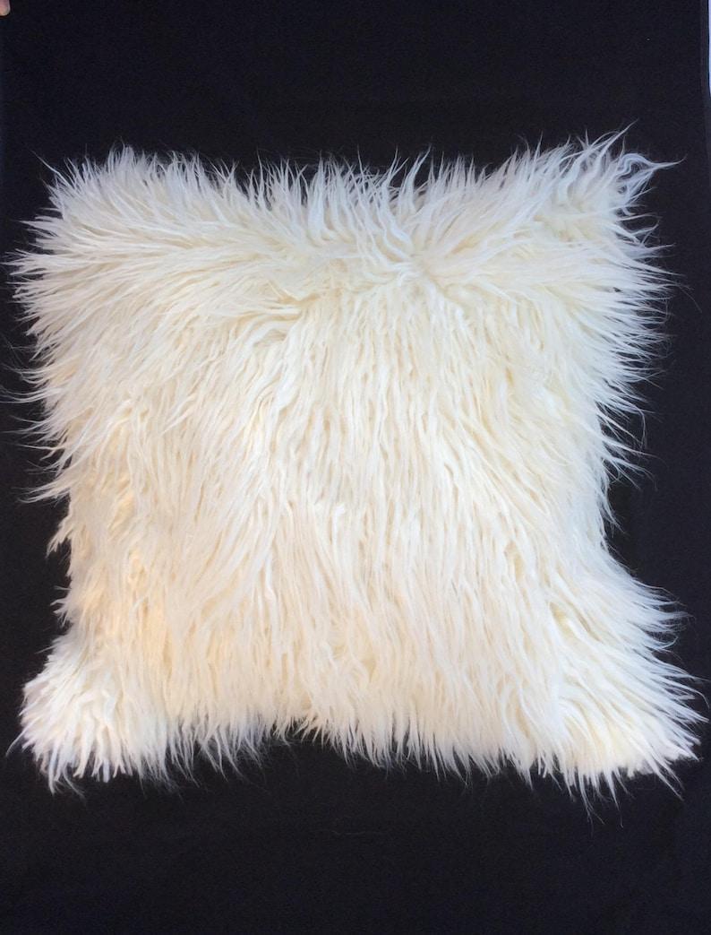White Faux Fur Pillow Cover Off White Mongolian Fur Pillow Etsy