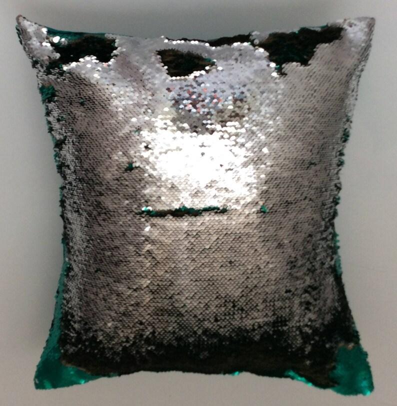 Green Christmas Green reversible pillow Green pillow cover Mermaid reversible pillow Decorative pillow Green Silver Green throw pillow