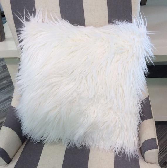 White Faux Fur Pillow Cover White Mongolian Fur Pillow White Etsy