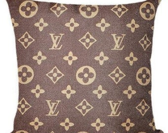 Louis Vuitton Inspired Throw Pillow Cover, Decorative Pillow, Brown Classic Monogram Pillow Cover, Fashion Pillow Home Decor Couture LV