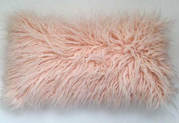 Faux Fur Peach Pillow Peach Throw Pillow Cover Pink Pillow