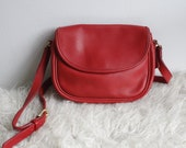Vintage Coach 1980's Red Flap Bag with Magnetic Closure - Small Red Leather Coach Shoulder Bag