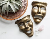 Brass Theater Comedy and Tragedy Masks - Vintage Brass Decor - Solid Brass Wall Decor - Vintage Laughing Crying Masks