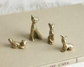 Brass Animal Figurines - Vintage Brass Decor - Brass Cats - Brass Squirrel - Brass Bunny