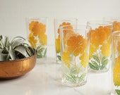 Federal Glass Co. Floral Juice Glasses / Set of 6 with Caddy