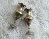 Etched Brass Candle Holders - Vintage Delicate Brass Decor