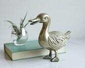 Brass Duck - Vintage Standing Brass Duck Paperweight - Home Decor - Mid Century Decor - Office Decor - Housewarming Gift - Vintage Gift