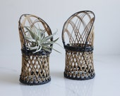 Vintage Mini Woven Chair - Wicker Peacock Chair Set - Plant Display - Bohemian Decor - Plant Lover Gift - Woven Boho Gift