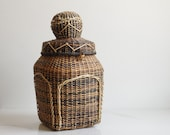 Vintage Woven Basket with Attached Lid - Woven Basket - Bohemian Vintage Decor - Vintage Home Decor - Vintage Storage - Wicker Basket