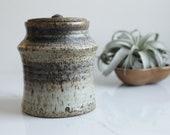 Ceramic Jar with Lid - Handmade Pottery - Purple Brown Cream Blue - Kitchen Storage Container - Kitchen Utensil Holder - Ceramic Urn