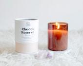 Rhodes Reserve Signature Scent 7.5oz Hand Poured Soy Wax Candle  •  Bergamot, Frankincense + Myrrh, Honeysuckle, Oakmoss, Cedar Wood