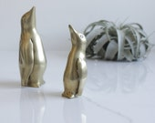 Brass Penguin Figures - Brass Figurines - Mid Century Modern Decor - Mid Mod Decor - Brass Decor - Boho Vintage Home Decor