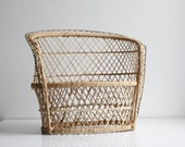 Wicker Loveseat Plant Stand - Vintage Boho Home Decor - Small Couch