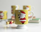 Santa Claus Wreath Mug Set - Vintage Mid Century Ceramic Footed Mug - 1960's Vintage Mug Set - Lime Green Retro Mug