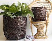 Pair of Woven Baskets - Wicker Storage Baskets - Woven Planters - Vintage Bohemian Decor - Home Decor - Vintage Planter - Plant Lover Gift