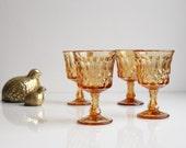 Vintage Noritake Perspective Wine Goblet / 4oz  Water Glass - Amber Glassware - Set of Four Glasses