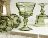 Virginia Green Champagne Goblets Set of Four - Vintage Green Pressed Glass Goblet - Set of Four Glasses