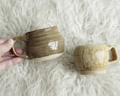 Studio Pottery Mugs - Pair of Mismatched Neutral Toned Petite Hand Crafted Coffee Mugs - Signed AEB