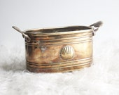 Brass Pot with Shell Motif - Vintage Boho Home Decor - Brass Home Accent - Brass Planter