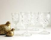 4oz Wine Goblets Set of Two - Anchor Hocking Wexford Claret Vintage Wine Glasses - Pressed Glass Vintage Glassware Made in USA