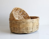 Wicker Baskets - Set of Wicker Baskets - Shallow Wicker Basket - Air Plant Display - Vintage Home Decor - Boho Decor - Storage Basket