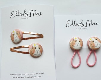 Guinea pig hair clips, guinea pig gift, ponytail holder, dusty pink.