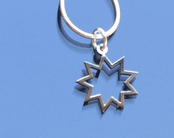 Bahai symbol jewellery, stainless steel pendants, nine-pointed star symbol, nonagram
