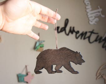 Bear Ornament, Rustic Ornament, California ornament, California bear ornament, Wood Bear Ornament, Christmas Ornament, Rustic Bear