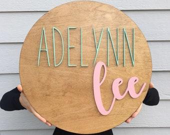 "18"" round name sign, Name Sign, Round Name Sign for Nursery, Round Name Wooden Sign, Nursery Decor"