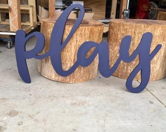 Large Play Sign, Playroom Sign, Large Cursive Play, Playroom Art, Large Cursive Letters, Cursive Letters, Kids Playroom Decor, Nursery Art