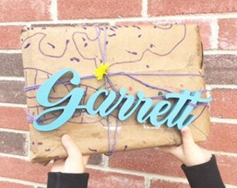 """SMALL 2""""-6"""" tall custom wood name / wall decor/ wood sign / hand made/ cursive name/ customized letters/ wood cut out/ wood letter"""