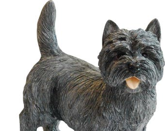 Gray Cairn Terrier Dog Figurine. A quality sculpture hand made & painted in England. 4 Inch high.