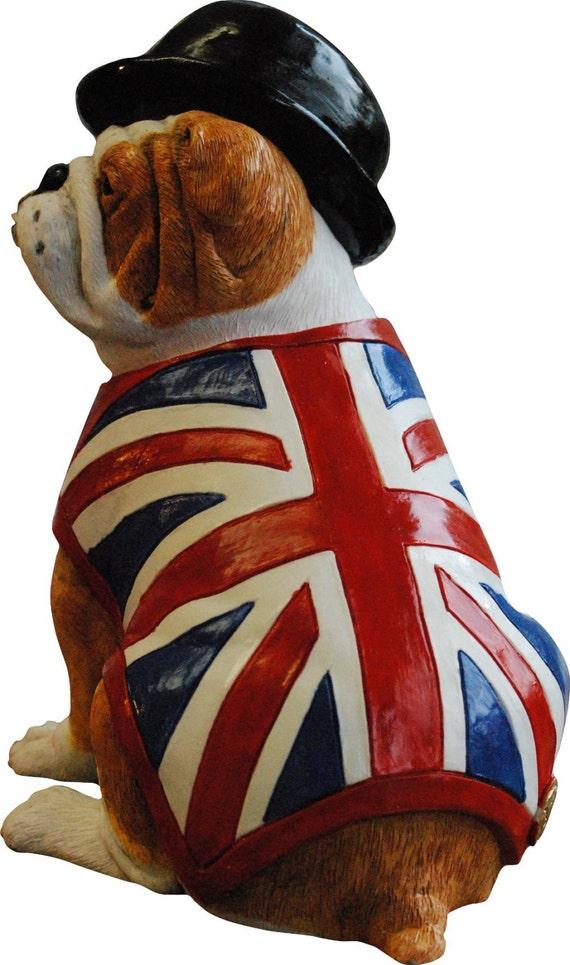BRITISH BULL DOG ORNAMENT FIGURINE with BOWLER HAT and UNION JACK FLAG WAISTCOAT
