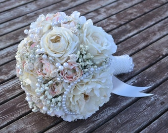 Peony Blush Bridal Bouquet, Wedding Flowers, Bridal Bouquet, Bride, Rustic Wedding, Vintage Wedding, Peony Bouquet, Ivory Bouquet, Flowers