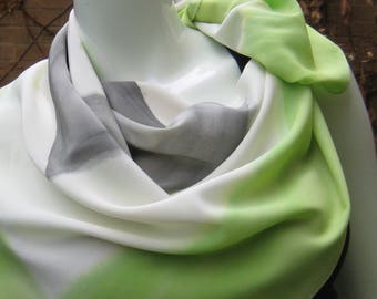 Hand painted silk scarf, lime green, off white, unique, one-of-a-kind