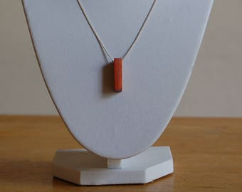 Padauk Wood Necklace on SIlver Chain